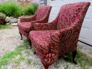Small Queen Ann Style Matching Wing Chairs from the side view   Upholstered in a United Fabric Crypton Venezia-Merlot   Upholstered by Cape Cod Upholstery Shop   Located in South Dennis, MA 02660