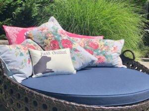 """Pool-side outdoor daybed with throw pillows used as a therapy cushion for a special needs customer. Outer cushion fabric is a Sunbrella Spectrum Indigo indoor-outdoor fabric. Under cushion cover made with Trivantage BellBloc-68 waterproof fabric liner. Foam cushion core is 3"""" antibacterial marine foam from Sailrite. Upholstered by Cape Cod Upholstery Shop   Located in South Dennis, MA 02660."""