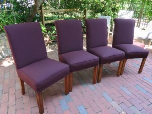 Parson Style Chairs   Upholstered in a Sunbrella Canvas indoor-outdoor fabric   Upholstered by Cape Cod Upholstery Shop   Located in South Dennis, MA 02660