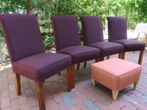 Parson Style Chairs & Foot Stool   Upholstered in a Sunbrella Canvas indoor-outdoor fabric   Upholstered by Cape Cod Upholstery Shop   Located in South Dennis, MA 02660