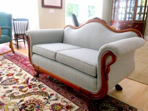 Antique Love Seat with gooseneck rolled arms and camel back style back   Upholstered in a Greenhouse Fabric from their new line of Sustain Performance Fabrics   Upholstered by Cape Cod Upholstery Shop   Located in South Dennis, MA 02660