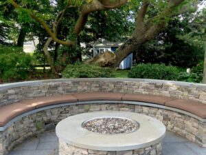 Five semi-circular fire pit cushions   Upholstered on the top and sides with a Sunbrella Canvas Chestnut and Phifertex mesh fabric on the bottom   Ez-Dri outdoor foam   Upholstered by Cape Cod Upholstery Shop   Located in South Dennis, MA 02660