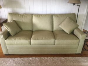Replacement seat and back cushions for an Ethan Allen sleep sofa   New performance fabric from JF Fabrics blends beautifully with sofa body   Cushions upholstered by Cape Cod Upholstery Shop   Located in South Dennis, MA 02660